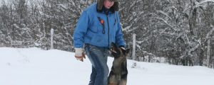 Mensch mit Hund im Schnee