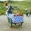 Frauchen und Hund mit Lastenrad am Strand