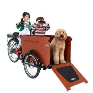 Kinder und Hund im Babboe Dog