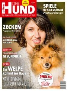 Cover DER HUND, Ausgabe 4/18, junge Frau mit Sheltie