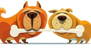 zwei gezeichnete Hunde halten einen langen Knochen im Maul