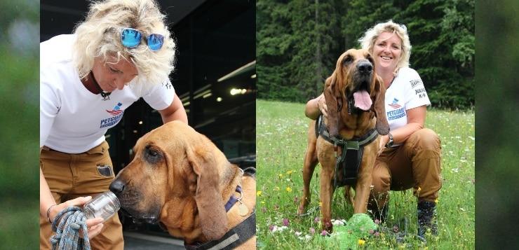 Alexandra Grunow vom K-9 Suchhundezentrum mit ihrem Bloodhound Hitchcock