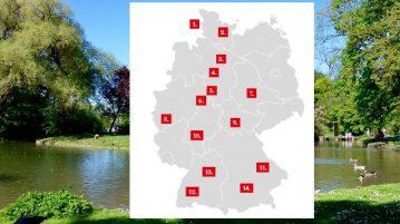 Deutschlandkarte mit eingezeichneten Zahlen, die Ausflugsorte markieren