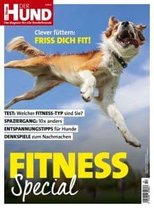 Auf dem Cover des DER HUND Specials rund um Fitness springt ein Hund in die Luft und ist von unten zu sehen