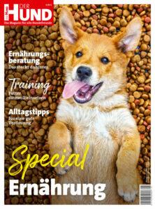 Cover DER HUND Special Ernährung 2021, ein satter junger Hund liegt auf dem Rücken und schaut in die Kamera