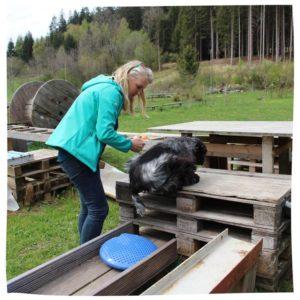 Anja Hanzel an einer Station im Naturhundegarten
