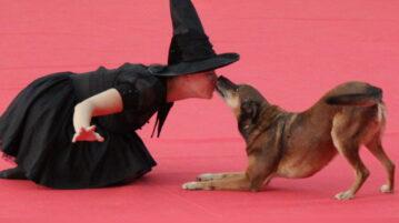 Frau im Hexenkostüm und Hund sitzen auf dem Boden, während der Hund in die Nase der Frau knabbert