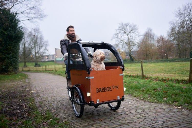 Mann und Hund mit Lastenfahrrad von Babboe