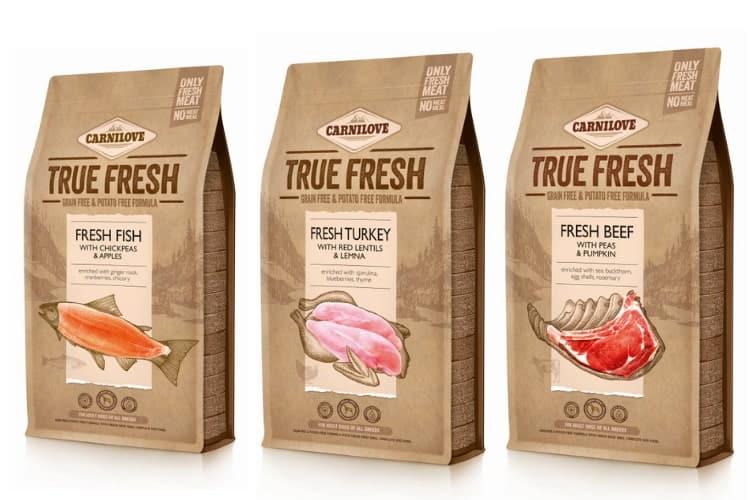 Die 3 Carnilove True Fresh Sorten Fisch, Truthahn und Rind